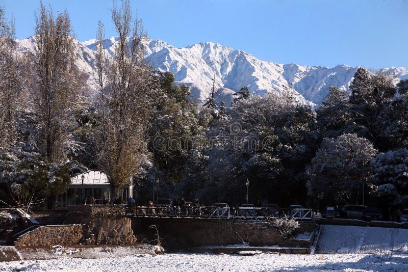 Ogólny Parkowy San Martin snowed w Mendoza Argentyna zdjęcie stock