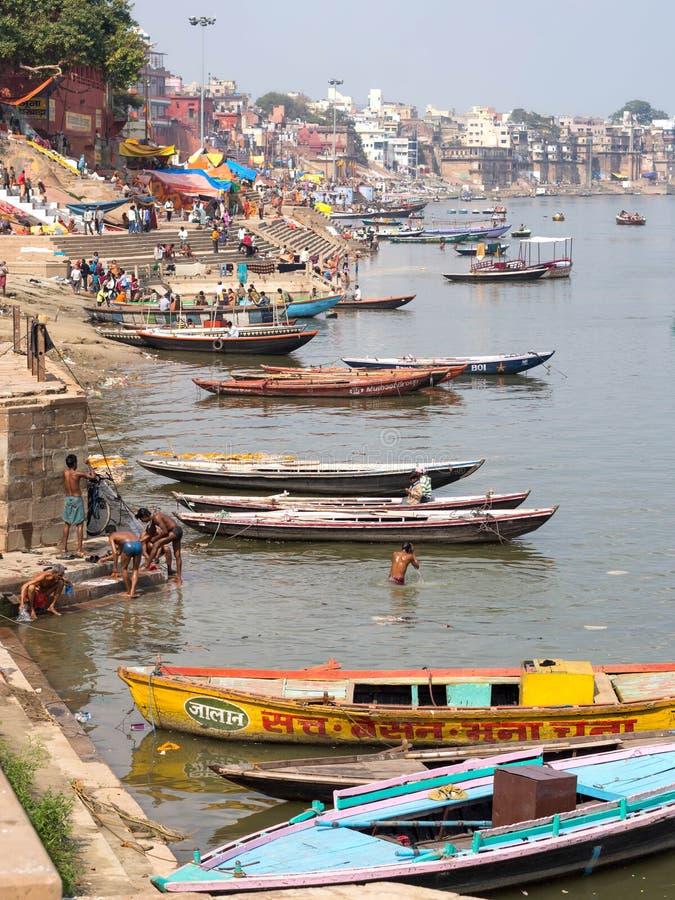 Ogólny widok Ghats i Ganges rzeka w Varanasi, Uttar Prades obrazy royalty free