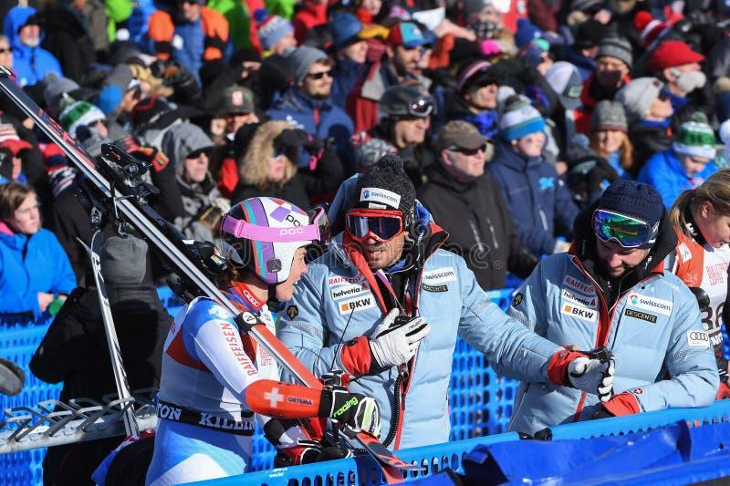 Ogólny widok meta podczas Audi FIS puchar świata Alpejskich Narciarskich kobiet Gigantycznego slalomu zdjęcia stock