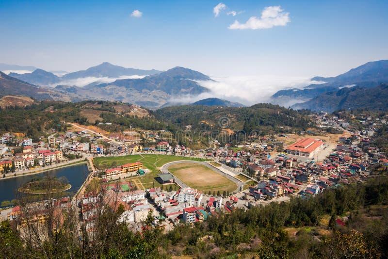 Ogólny widok Sapa miasteczko, Lao Cai prowincja, Wietnam obrazy royalty free