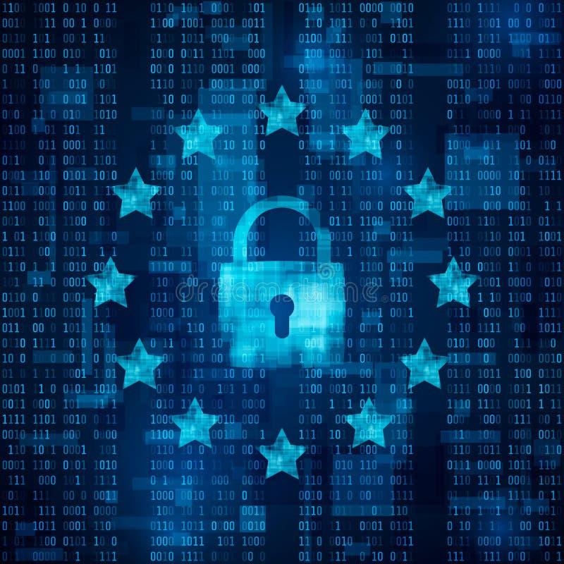 Ogólnych dane ochrony przepis - GDPR kłódka symbol, dane bezpiecznie Gwiazdy na błękitnym matrycowym tle wektor royalty ilustracja