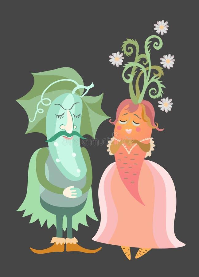 Ogórek i marchewka Ślubny zaproszenie z ślicznymi kreskówek warzywami royalty ilustracja
