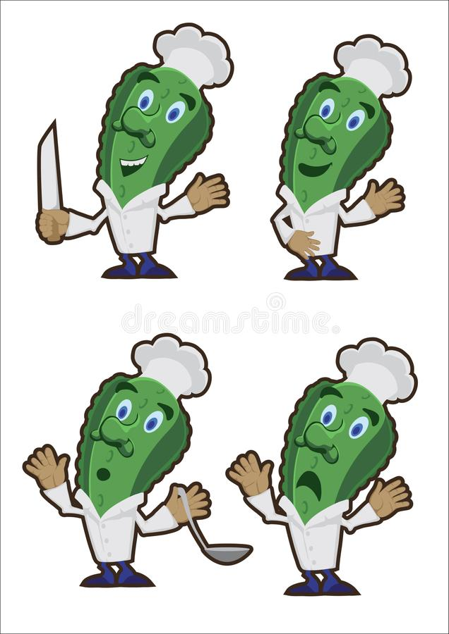 Ogórka kucharz, set charaktery royalty ilustracja