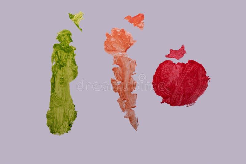 Ogórka, marchewki i pomidoru abstrakcjonistyczny obraz, zdjęcia stock