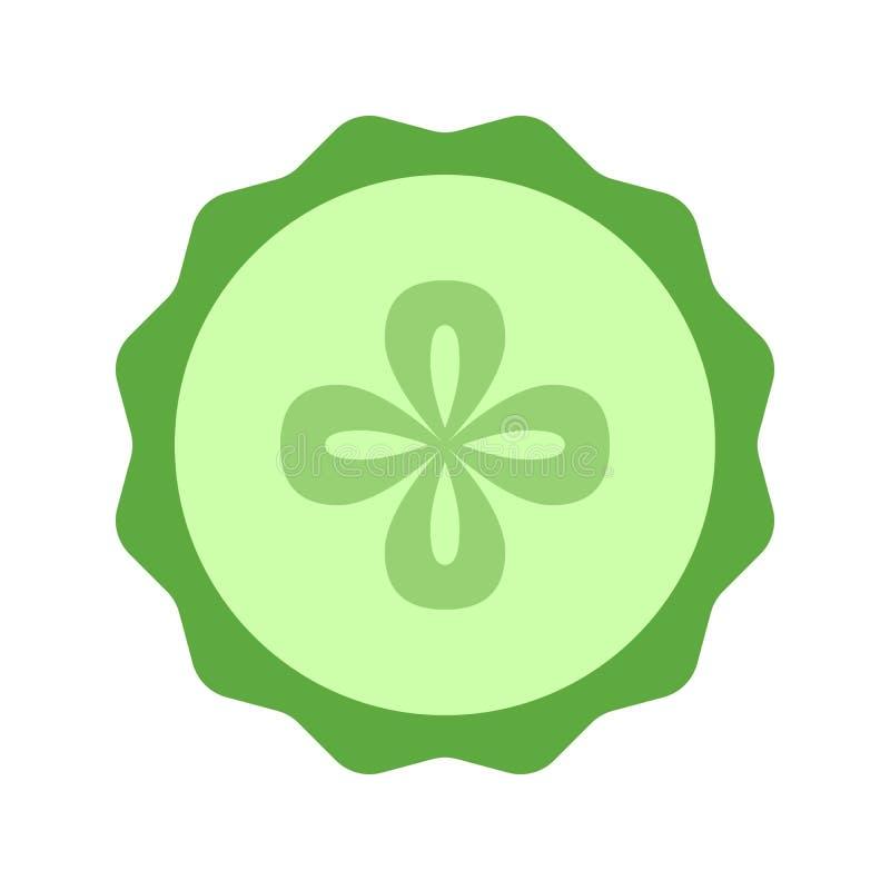Ogórkowa plasterka zbliżenia ikona, zielony round kawałek ogórek Loga projekt, płaska wektorowa ilustracja ilustracja wektor