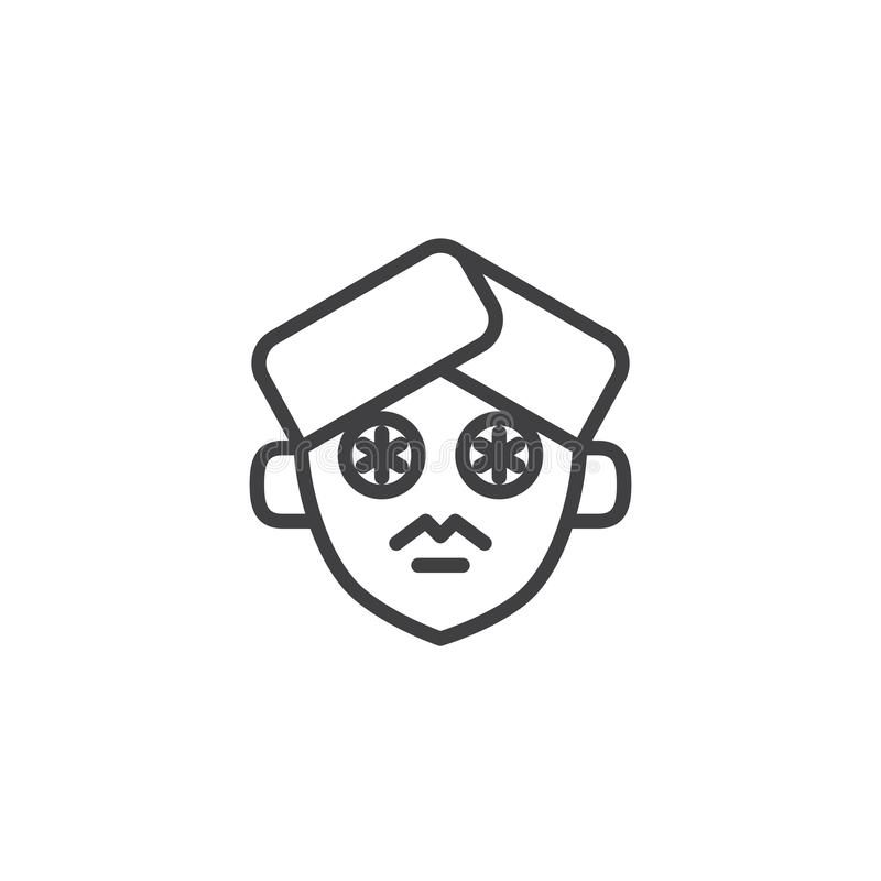 Ogórkowi plasterki na twarz konturu ikonie ilustracja wektor