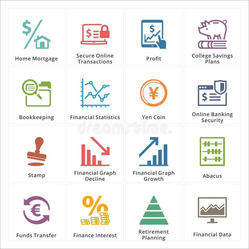 Ogłoszenia towarzyskiego & biznesu Finansowe ikony - set 3 royalty ilustracja