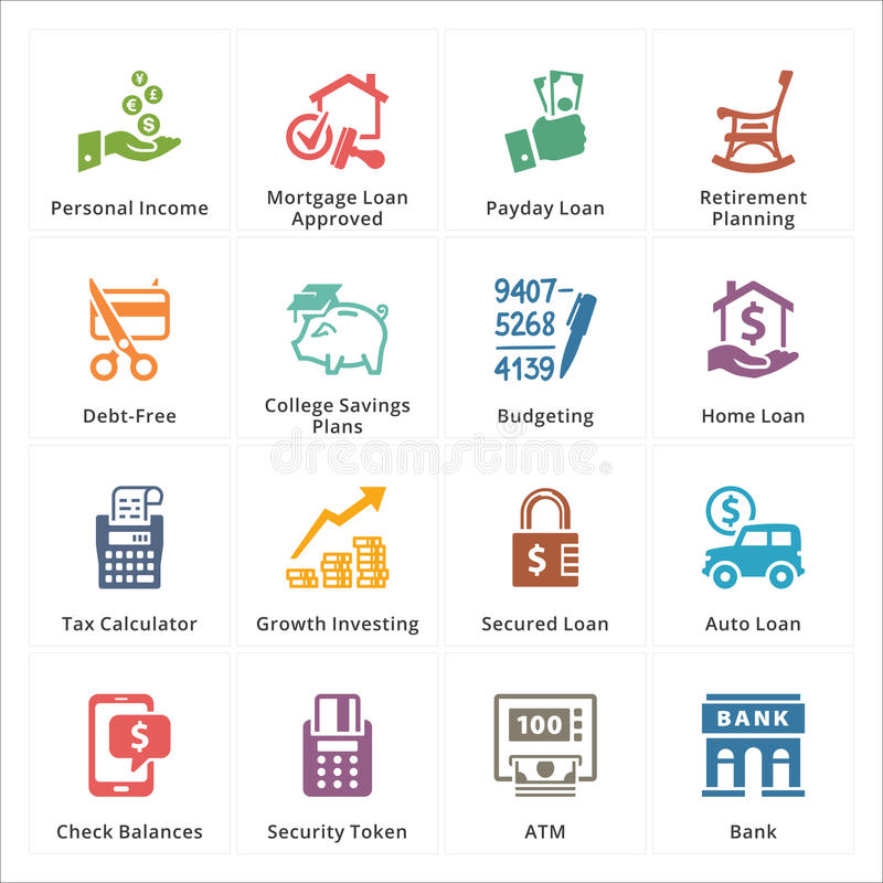 Ogłoszenia towarzyskiego & biznesu Finansowe ikony - set 2 royalty ilustracja