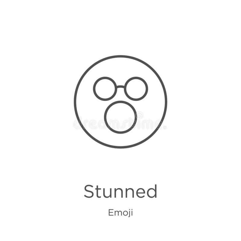 ogłuszony ikona wektor od emoji kolekcji Cienka linia oszałamiająca kontur ikony wektoru ilustracja Kontur, cienieje linia oszała ilustracja wektor