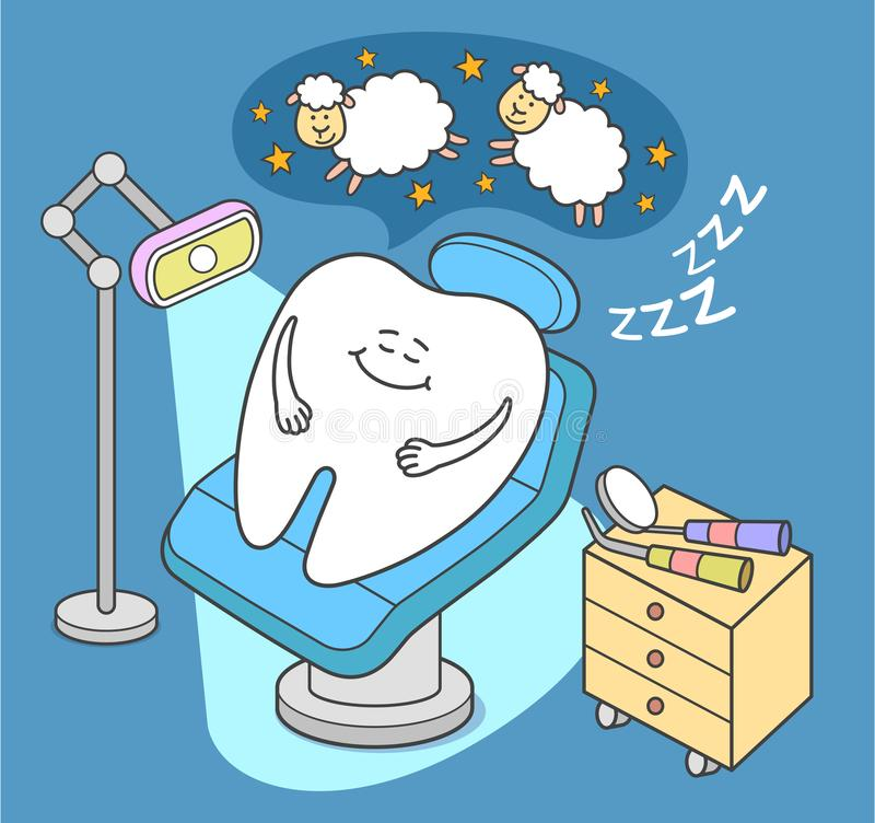 Og?lna anestezja Kreskówka zębu sen w stomatologicznym krześle ilustracja wektor
