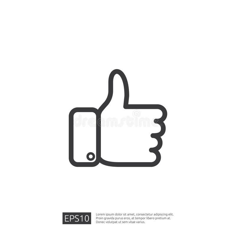 Og?lnospo?eczna sie? lubi ikon? wr?cza kciuk w g?r? symbolu dla sieci UI, logo, app z mieszkanie stylu projektem ilustracja wektor