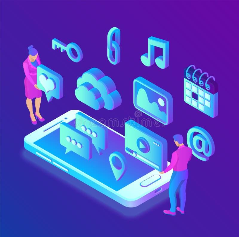 Og?lnospo?eczni medialni apps na smartphone Og?lnospo?eczne ?rodk?w 3d isometric ikony apps mobilni Tworz?cy Dla wisz?cej ozdoby, royalty ilustracja