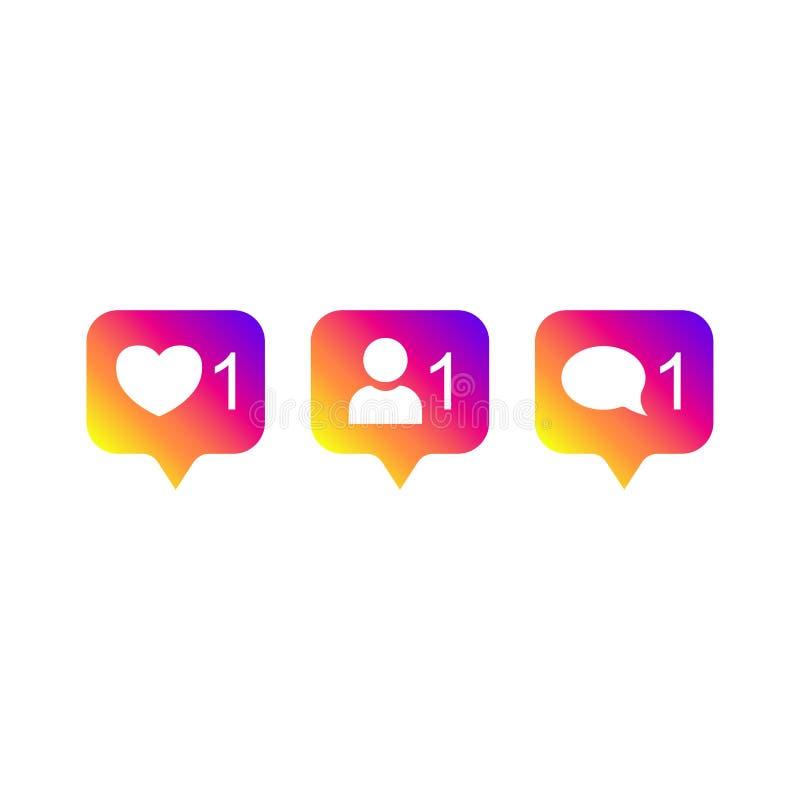 Og?lnospo?eczny medialny Instagram nowo?ytny jak 1, zwolennik 1, komentarza 1 gradientowy kolor Jak, zwolennik, komentarza guzik, ilustracja wektor