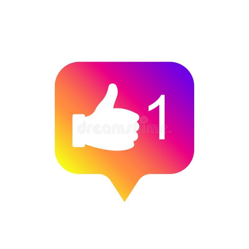 Og?lnospo?eczny medialny nowo?ytny jak znak, gradientowy kolor Jak guzik, ikona, symbol, ui, app, sie? r?wnie? zwr?ci? corel ilus royalty ilustracja