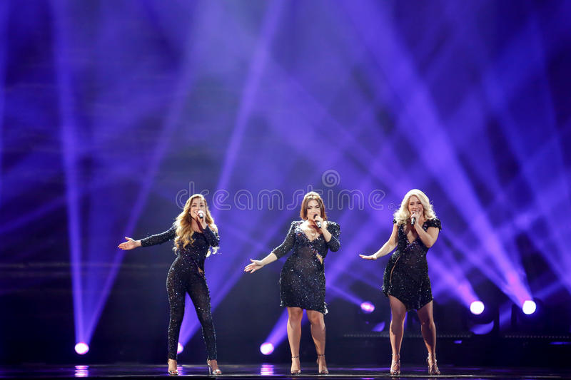OG3NE from Netherlands Eurovision 2017. KYIV, UKRAINE - MAY 12, 2017: OG3NE from Netherlands at the Grand Final rehearsal during Eurovision Song Contest, in Kyiv stock images