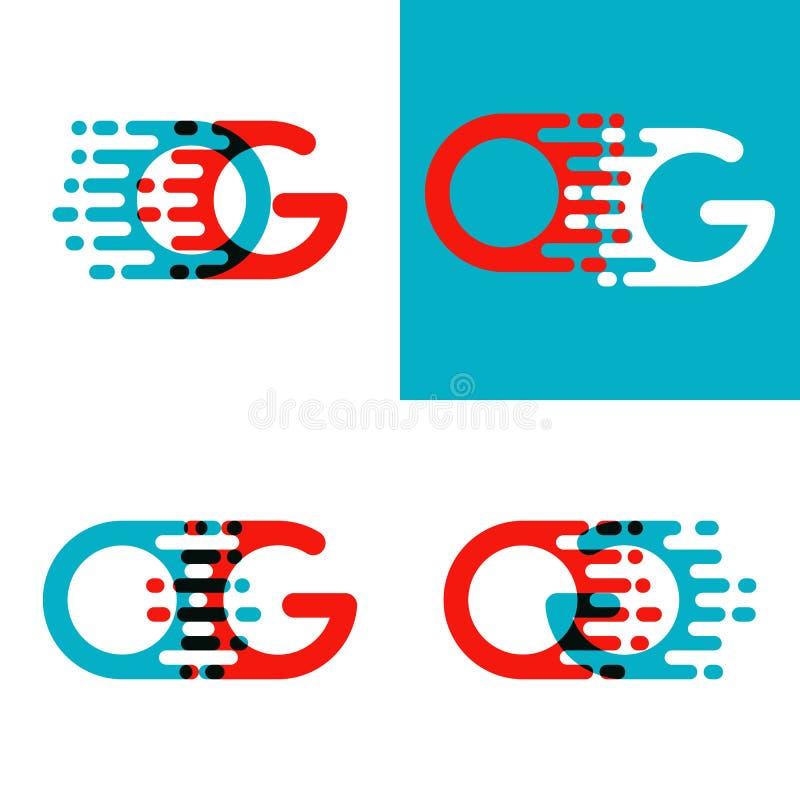 OG pone letras al logotipo con acento para apresurar en rojo y azul ilustración del vector