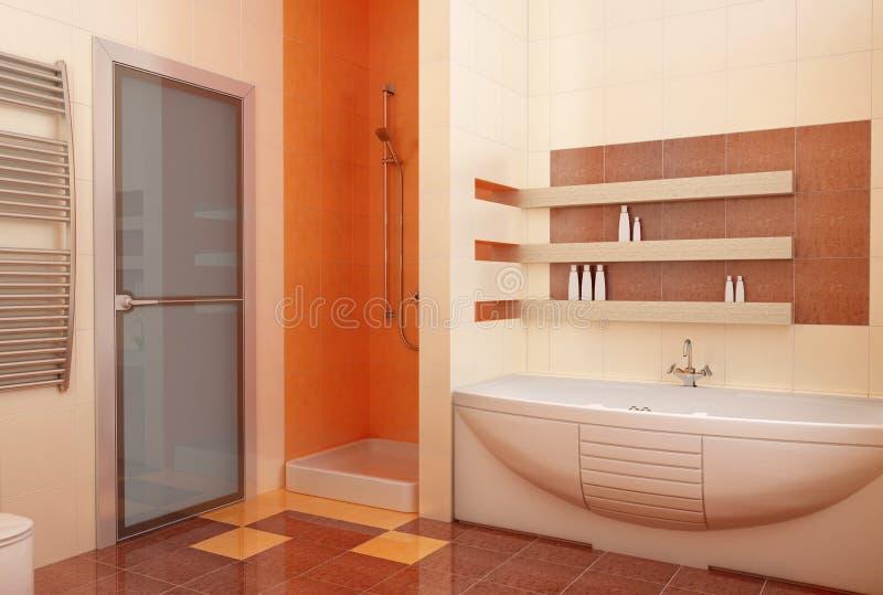 Ogange bahtroom interior stock illustration