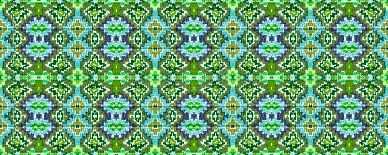 Ikat Seamless Pattern. Ogee Seamless Texture. Ikat Pattern. Allover Organic Swimwear Design. Geo Ogee Tile.  Aztec Geometric Textile Border Psychedelic Rainbow vector illustration