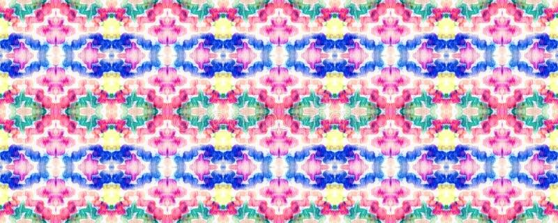 Ikat Seamless Pattern. Ogee Seamless Texture. Ikat Pattern. Psychedelic Rainbow Aztec Geometric Textile Border Allover Organic Swimwear Design. Geo Ogee Tile stock illustration