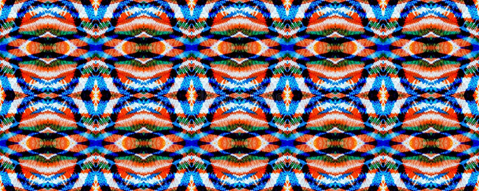 Ikat Seamless Pattern. Ogee Seamless Texture. Ikat Pattern. Watercolor Hand Drawn Textile. Creative Navajo Ikat Background. Psychedelic Rainbow Aztec Geometric royalty free illustration