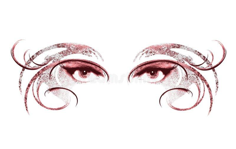 Ogen die van Vrouw Masker 2 dragen royalty-vrije illustratie