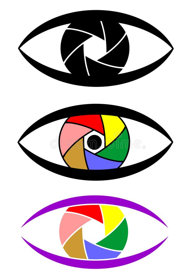 Ogen van het concepten de vastgestelde pictogram als camera met kleurrijk blind royalty-vrije illustratie