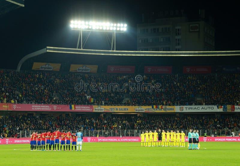 Ogenblik van stilte voor het geheugen van Johan Cruyff vóór gelijke royalty-vrije stock foto