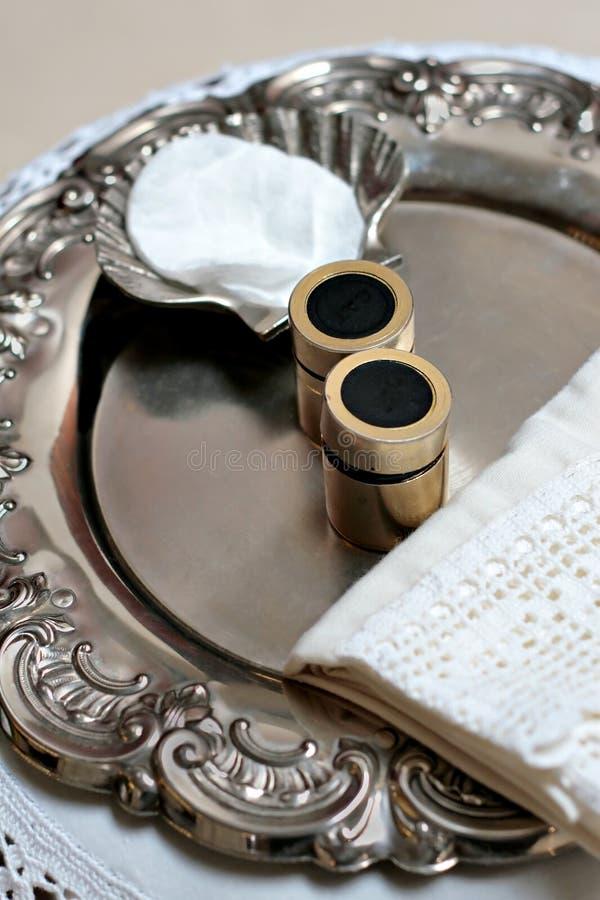 Oggetti battesimali d'argento fotografia stock