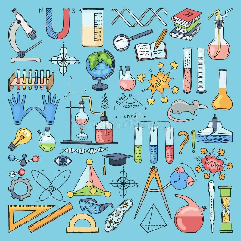 Oggetti colorati di biologia e del prodotto chimico di scienza Illustrazioni disegnate a mano di vettore illustrazione di stock