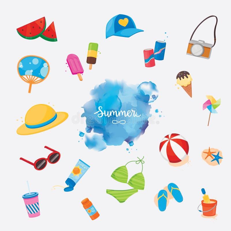 Oggetti Colourful di estate negli stili di colore di acqua illustrazione vettoriale
