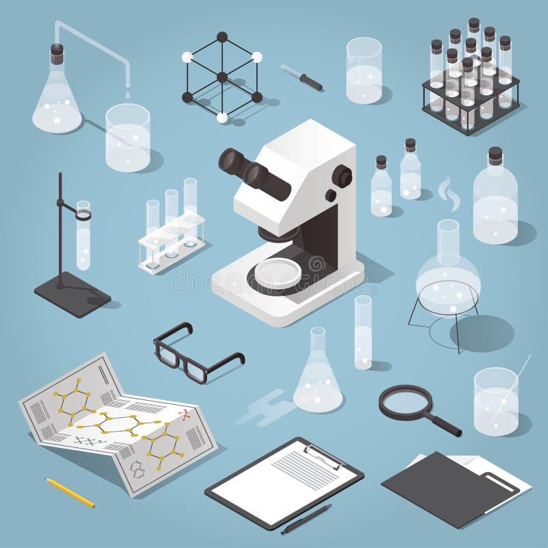 Oggetti del laboratorio di chimica messi royalty illustrazione gratis