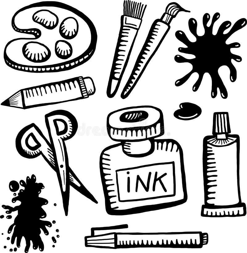 Oggetti del mestiere e di arte illustrazione di stock
