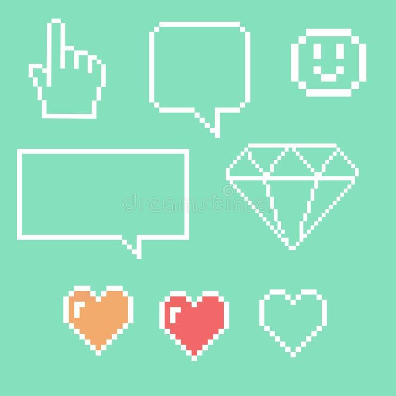 Oggetti del pixel per le icone dei giochi messe Fumetti della rete sociale: Smiley, amore illustrazione di stock