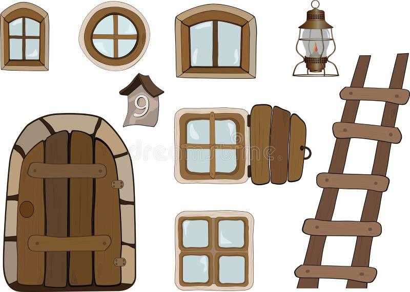 Oggetti della costruzione. Windows e portelli royalty illustrazione gratis
