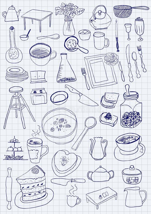 Oggetti della cucina illustrazione vettoriale. Immagine di ...