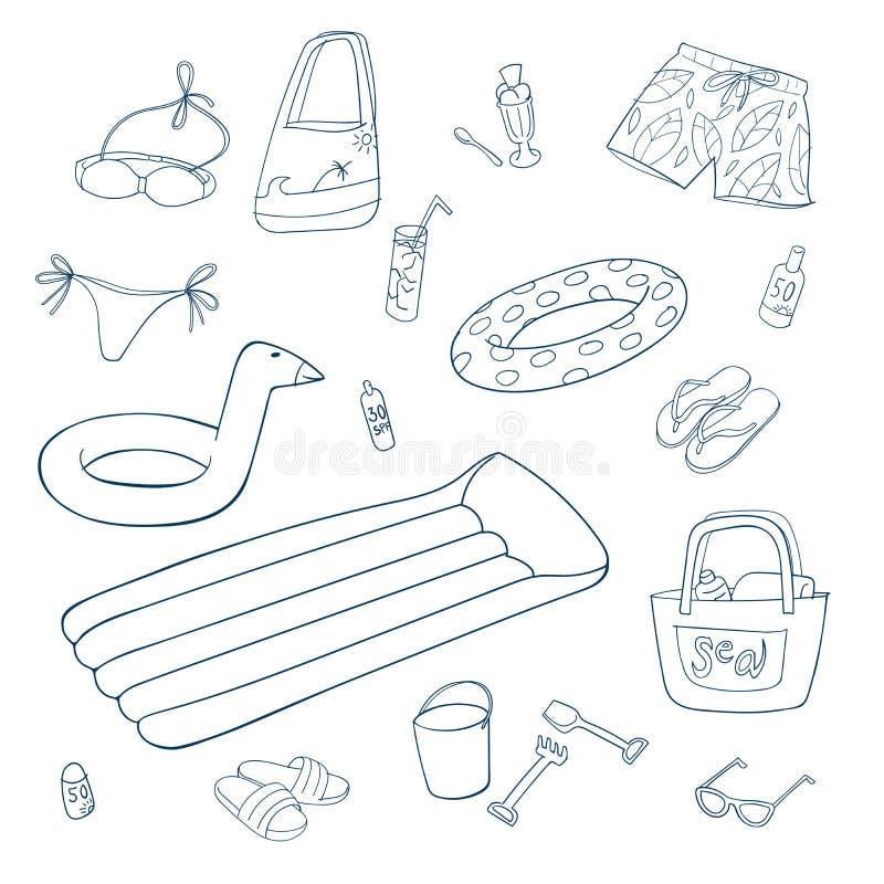 Oggetti della spiaggia e di estate Insieme delle illustrazioni di vettore royalty illustrazione gratis