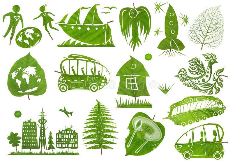 Oggetti di arte fatti dalle foglie fotografia stock libera da diritti