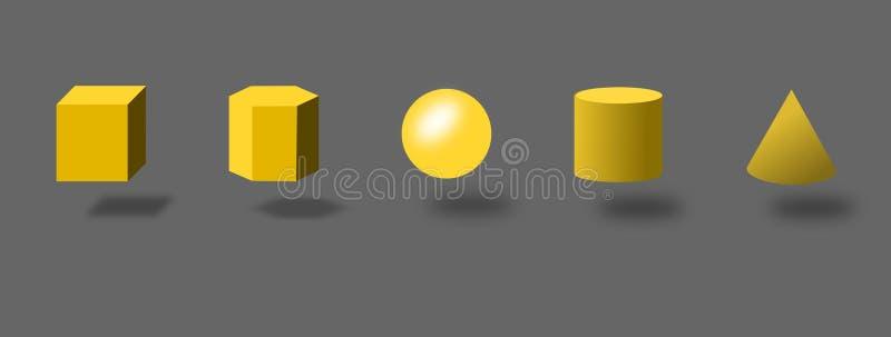oggetti di base 3d Sfera, cubo, cono, cilindro ed esagono royalty illustrazione gratis