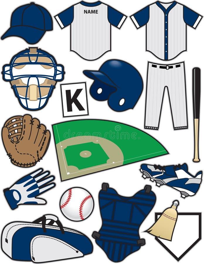 Oggetti di baseball illustrazione vettoriale