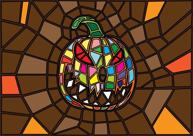Oggetti di Halloween stile decorativo del vetro macchiato delle zucche di vettore dell'illustrazione illustrazione vettoriale