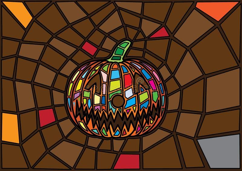 Oggetti di Halloween stile decorativo del vetro macchiato delle zucche di vettore dell'illustrazione illustrazione di stock
