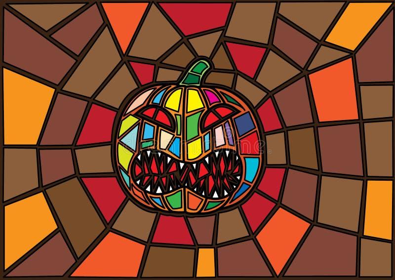 Oggetti di Halloween stile decorativo del vetro macchiato delle zucche di vettore dell'illustrazione royalty illustrazione gratis