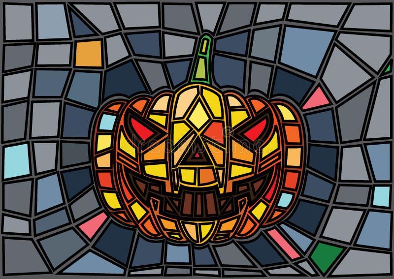 Oggetti di Halloween Stile decorativo del vetro macchiato delle zucche di vettore royalty illustrazione gratis