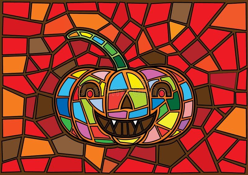 Oggetti di Halloween Stile decorativo del vetro macchiato delle zucche di vettore illustrazione vettoriale