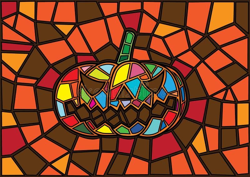 Oggetti di Halloween Stile decorativo del vetro macchiato delle zucche di vettore illustrazione di stock
