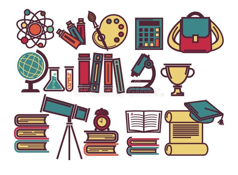 Oggetti di lezioni della scuola ed icone piane di vettore dei rifornimenti di istruzione di sicence messe royalty illustrazione gratis