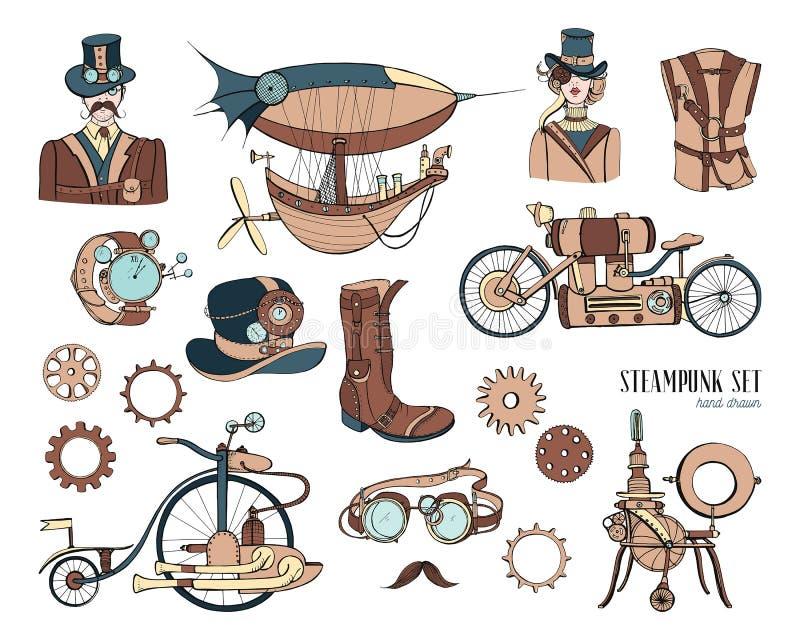 Oggetti di Steampunk e raccolta del meccanismo: macchina, abbigliamento, la gente ed ingranaggi Illustrazione d'annata disegnata  royalty illustrazione gratis