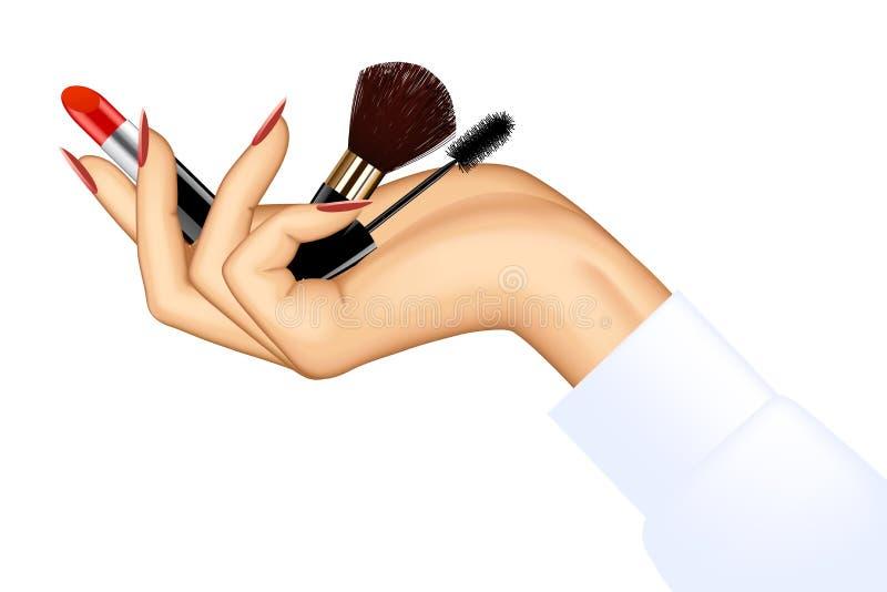Oggetti di trucco della tenuta della mano del ` s della donna illustrazione vettoriale