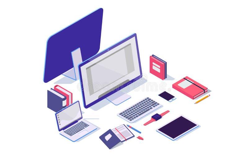 Oggetti elettronici isometrici 3d con il computer portatile, la compressa, il taccuino, il telefono cellulare e la cartella royalty illustrazione gratis