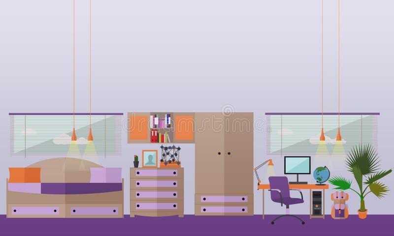 Oggetti interni della camera da letto dell'adolescente nello stile piano Illustrazione di vettore royalty illustrazione gratis